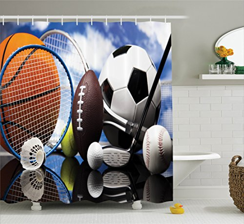 Sports Decor Collection, Sports Equipment Football Soccer Darts Ice Hockey Baseball Basketball Polyester Fabric Bathroom Shower Curtain Set Hooks