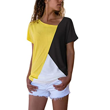 06a56bade5ca Libermall Women s Casual Summer Short Sleeve T-Shirts Irregular Color  Patchwork Loose Tunic Shirt Blouse