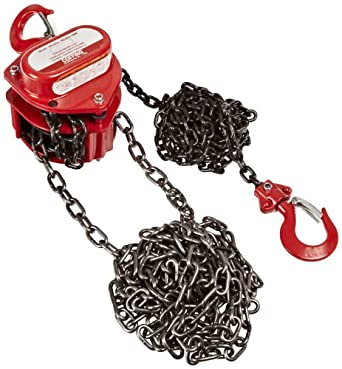 Coffing LHH-1B-20FT Steel LHH Model Hand Chain Hoist with Hook, 20' Lifting Height, 1 Ton Load Capacity
