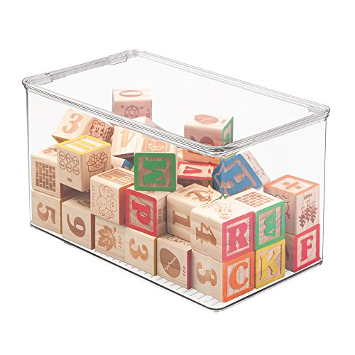 mDesign Kids Baby Cat Dog Small Plastic Stacking Toy Storage Organizers Boxes Cases Containers with lid , for Action Figures, Crayons, Legos Puzzles Wood Blocks - 12.75 x 7.25 x 7, Clear