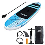 UBOWAY Inflatable Stand Up Paddle Board 6'' Thick with Adjustable Paddle, Backpack, Pump, Elastic Rope, Fin, Repair Kit 10' Long 30'' Wide
