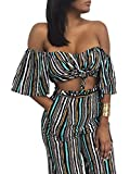 Glamaker Women's Sexy Off Shoulder Striped 2 Pieces Jumpsuit Crop Tops and Pants Set M 4/6