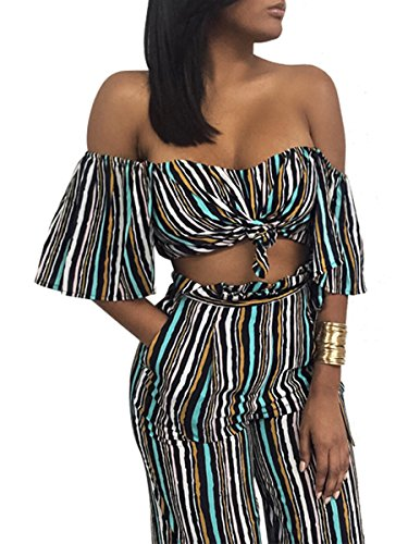 Glamaker Women's Sexy Off Shoulder Striped 2 Pieces Jumpsuit Crop Tops and Pants Set (12, striped) (Sexy Pants Suits)