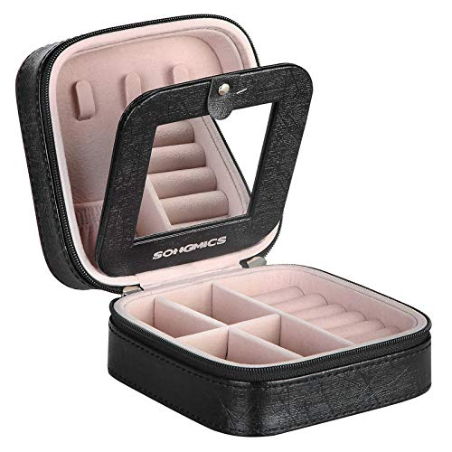(SONGMICS Small Travel Jewelry Case, Mini Box Portable Bag, with Mirror and Double Zipper, for Rings Earrings Necklaces, Holder Organizer, Gift for Girls and Teens, Velvet Lining, Black UJBC146BK)