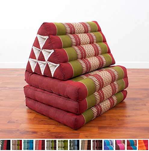 Leewadee Foldout Triangle Thai Cushion, 67x21x3 inches, Kapok Fabric, Green Red, Premium Double Stitched by Leewadee