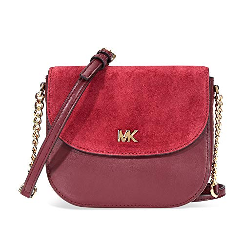 Michael Kors Leather and Suede Saddle Bag OXBLD/MAROON