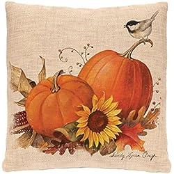 GBSELL Pillow Cover Owl Thanksgiving Turkey Cock Hen Pillow Case Sofa Throw Cushion Cover Home Decor,45cm45cm (Pumpkin)