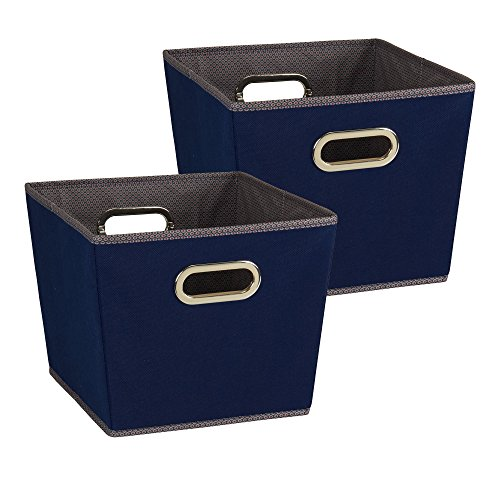 Household Essentials 94 Medium Tapered Decorative Storage Bins | 2 Pack Set Cubby Baskets | Navy Blue - Print Medium Storage Bin