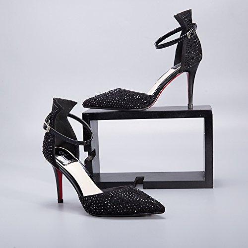 de Black diamante de bodas zapatos alto mujeres de cristal de HUAIHAIZ Zapatos zapatos las sandalias altosLos Tacones agua de tacón qwn6xtH7