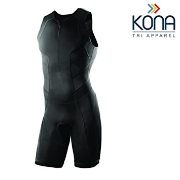 Kona Mens Triathlon Race Suit - Speedsuit Skinsuit Trisuit Sleeveless - One-Piece Vest and Short Combo That Half zips with a Rear Pocket for Storage