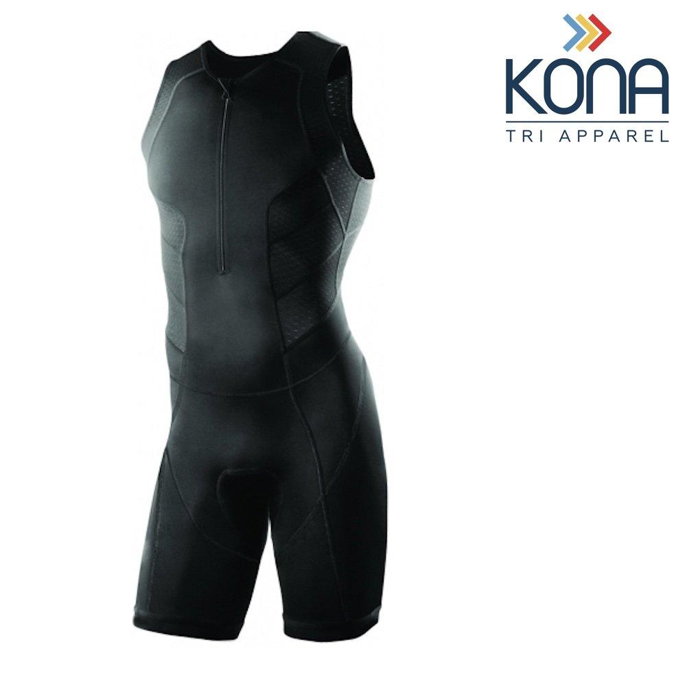 Kona Men's Triathlon Race Suit - Wetsuit Skinsuit Trisuit Sleeveless - One-Piece Vest and Short Combo That Half zips with a Rear Pocket for Storage (Black, Small)