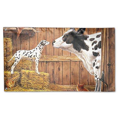 YUANSHAN Home Garden Flag Farm Animals Cow Cat Hay Barn Dog Polyester Flag Indoor/Outdoor Wall Banners Decorative Flag Garden Flag 3' X -