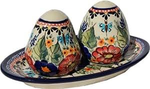 Polish Pottery Salt and Pepper Shakers From Zaklady Ceramiczne Boleslawiec #961-149 Art Unikat Signature Pattern