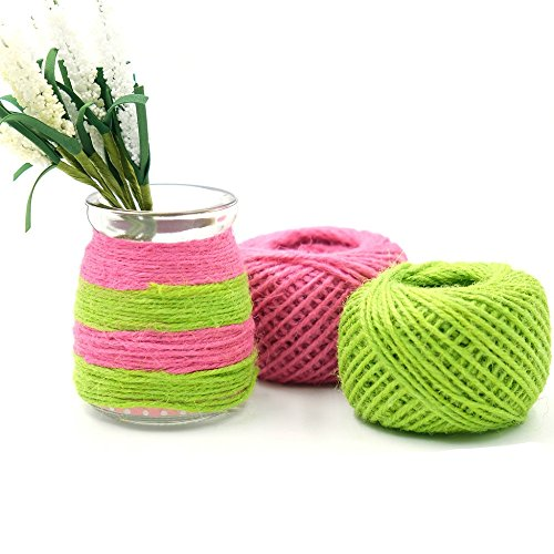 Yalulu 2Pcs 5 Meters Green/Pink Natural Jute Twine Arts Crafts Gift Twine/Hemp Rope Twine Industrial Packing Materials Durable String for Gardening Applications ()