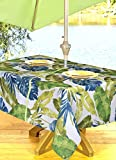 Outdoor Tablecloths, Umbrella Hole With Zipper Patio Tablecloth, Stain Resistant, Spill Proof, Shrink Resistant, Iron Free, Beauty and Performance (60'' x 90', Hawaii)