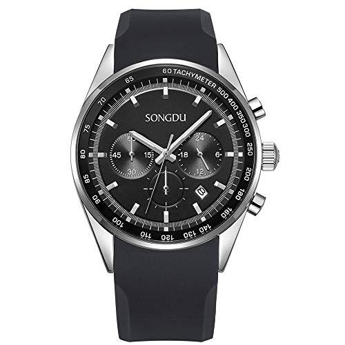 SONGDU Men's Sports Date Multifunction Chronograph Stainless Steel Wrist Watch (Black) by SONGDU