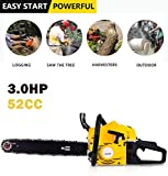 Anhoney 20 Inch Gas Chainsaw 52CC 2 Strokes Gas Powered Chain Saw Handle Chain Saw Rancher Outdoor Garden Yard Use with Tool Kit