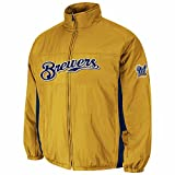 Majestic Milwaukee Brewers MLB Men's Gold 2016 Double Climate Quilted Full Zip On-Field Jacket