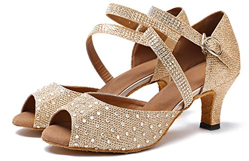 Mary Shoes M Jean Party Glitter Shoes 7 Women's Champagne Dance US B Rhinestone Shoes Dance Latin Honeystore wpTYx