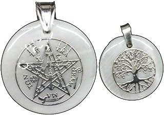 perlascarel - Set di 2 ciondoli in Madreperla e Argento Sterling Ciondolo Tetragramaton 25 mm e Ciondolo Albero della Vita 18 mm con astucci