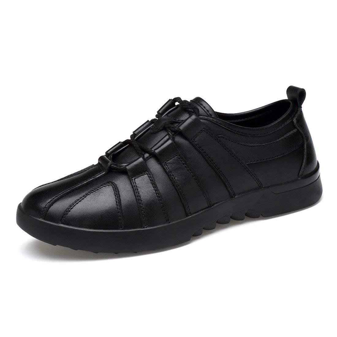 Black Qiusa Boy's Men's Lace-up Tie Cap-Toe Outdoor Walking shoes (color   Black, Size   7.5 UK)