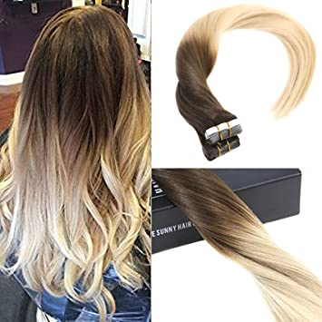 Amazon sunny 18inch ombre tape in hair extensions color sunny 18inch ombre tape in hair extensions color brown to blonde glue in hair extensions 50g pmusecretfo Images