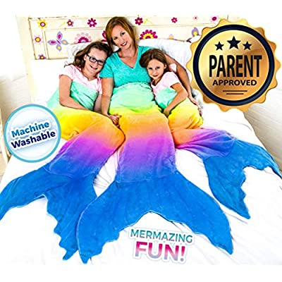 Blankie Tails Mermaid Tail Blanket (Adult/Teen Size) (Rainbow Ombre - New!): Home & Kitchen