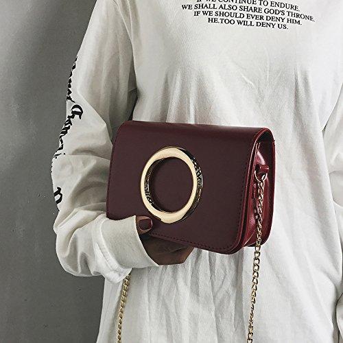 Bolso cadena color simple de Nueva Brown Messenger Bolso golden bolsos Borgoña retro moda circle sólido Light IzzqpPAY