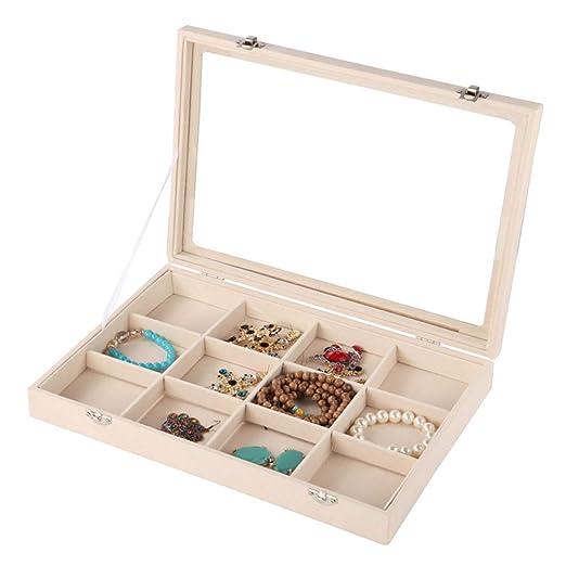 Gabinete de caja de joyería Tapa de vidrio Bandeja de joyería ...