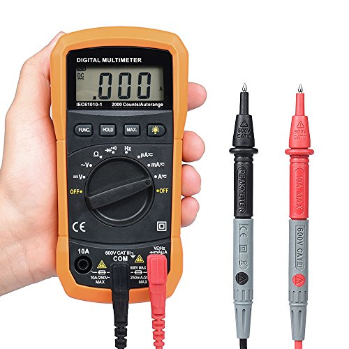 Digital Multimeter, BEBONCOOL Auto-Ranging AC DC Voltmeter, Electronic Amp Volt Ohm Voltage Tester with Diode and Continuity Test Scanners, Backlight LCD Display (Orange) by BEBONCOOL (Image #1)
