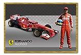 Ferrari Alonso & F1 Car Poster Cork Pin Memo Board Oak Framed - 96.5 x 66 cms (Approx 38 x 26 inches)