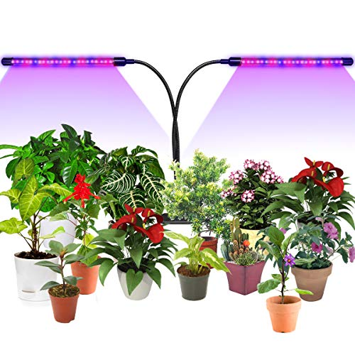 Grow Light,LED Grow Lights 30W 60 Beads Auto On Off Every Day with Two Way Timer Dual Head Growing Lamp for Indoor Plants,High Efficiency,5 Dimmable Level,3/9/12H Memory Timing for Hydroponics/Garden