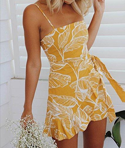 pour robe les spaghetti Robe sexy d't Longwu des femmes bretelles femmes imprim Casual Floral Jaune Mini BqSH7