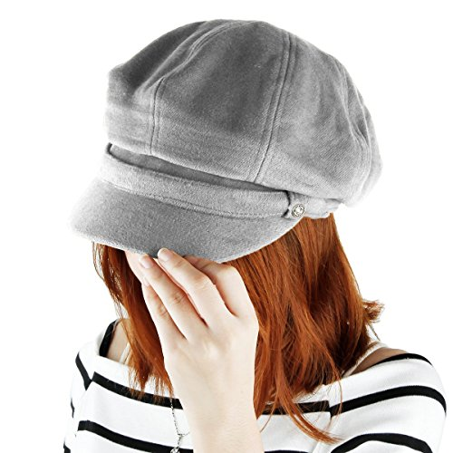 Samtree Newsboy Hats for Women,8 Panel Winter Warm Ivy Gatsby Cabbie Cap(02-Grey)