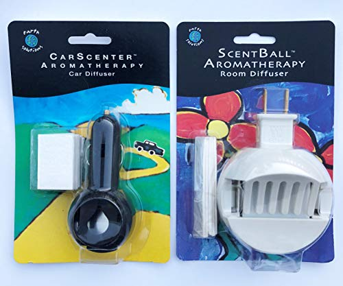 Earth Solutions Scentball Diffuser - Earth Solutions Essential Oils Diffuser Set - Scentball Spa Room Diffuser and CarScenter Car Aromatherapy Diffuser