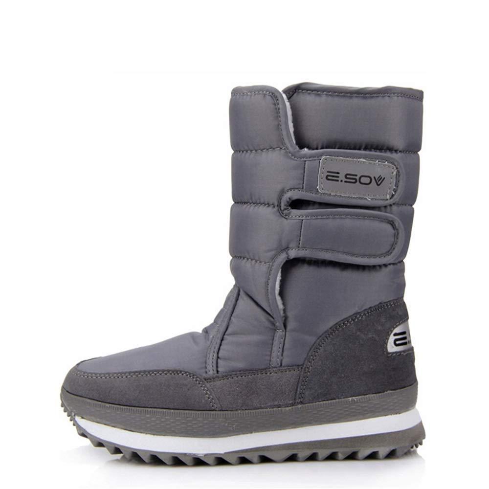 ZHRUI Mens Hook Loop Hohe Stiefel Weiche Sohle Rutschfeste Waterprooft Snow Stiefel (Farbe   Grau, Größe   EU 42)