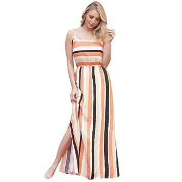 Wawer Vestido de playa para mujer, sin mangas, longitud del suelo, vestido de