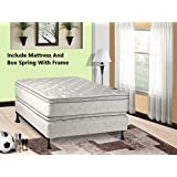 Mattress Solution 302yF-5/0-2 12-Inch Plush Pillow Top, Orthopedic Double-Sided Mattress and Box Spring/Foundation Set with Frame, Princess Collection, Queen, Size