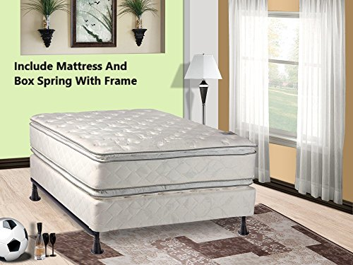 Set Mattress Top (Mattress Solution 302yF-5/0-2 12-Inch Plush Pillow Top, Orthopedic Double-Sided Mattress and Box Spring/Foundation Set with Frame, Princess Collection, Queen, Size)