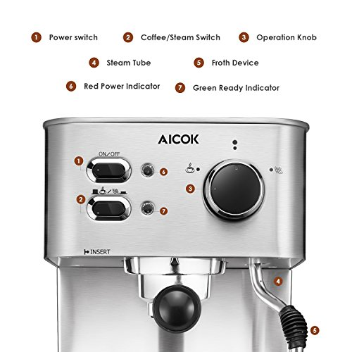 Espresso Machine Aicok, Cappuccino and Latte Coffee Maker, 15 Bar Espresso Maker with Independent Milk Frother, Stainless Steel Coffee Machine
