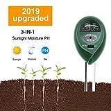 Soil Test Kit pH,3-in-1 Soil Tester Moisture Light Meter for Gardening,Plants,Lawn,Farm,Vegetables,Trees,Grass (No Batteries Required) (Green)