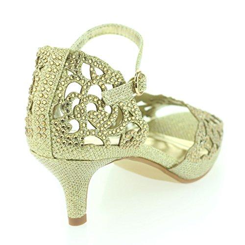 Femmes Dames Orteil Ouvert Sangle De Cheville Diamante Talon moyen Soirée Mariage Or Sandale Chaussures Taille 37