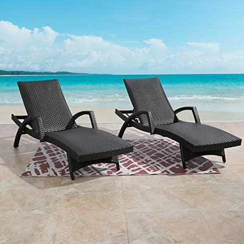 Ulax Furniture Outdoor Woven Padded 2-Pack Non-Rust Aluminum Chaise Lounge Armed Patio Lounger Adjustable Chair