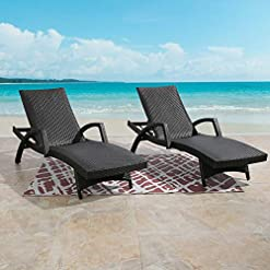 Garden and Outdoor Ulax Furniture Outdoor Woven Padded 2-Pack Non-Rust Aluminum Chaise Lounge Armed Patio Lounger Adjustable Chair with… outdoor lounge furniture