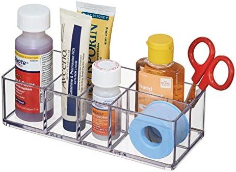 mDesign - Organizador de botiquín; para pincitas, suministros médicos, lentes de contacto, bolitas de algodón - Claro: Amazon.es: Hogar