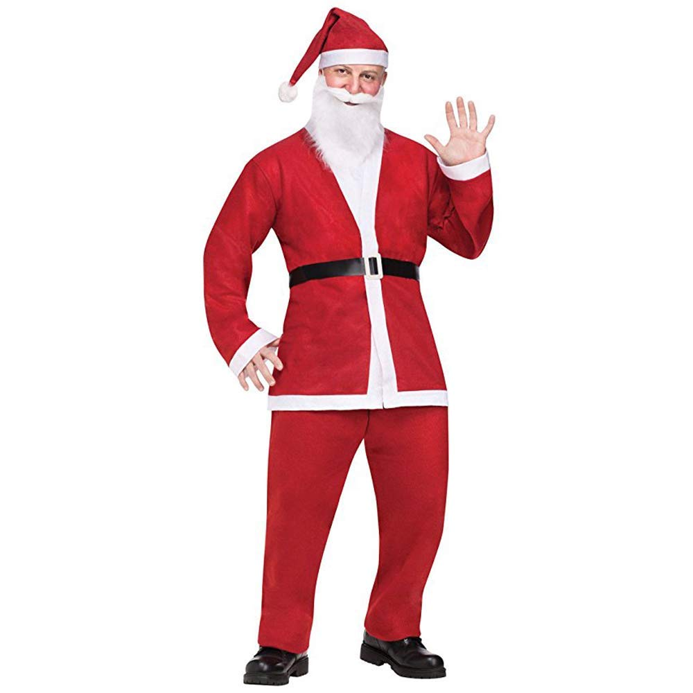 Santa Suit Christmas Santa Claus Costume for Adult Red Color Standard Size Fits Most