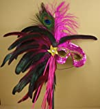 Fuchsia Mardi Gras Feather Costume Mask Party Table Centerpiece Decoration
