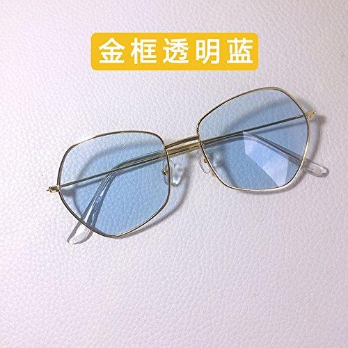 Sunyan Fünfeckiger Brillen, antike Metall tide weibliche Persönlichkeit Sonnenbrille neue marine Film thin net Rot männlich, Gold frame Asche Blatt