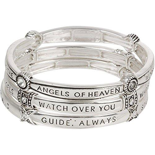 Heirloom Finds Guardian Angel Prayer Triple Stack Stretch Bangle Bracelets with Crystals (Guardian Angels Bracelet)