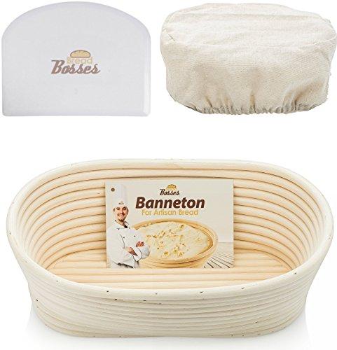 10 inch Oval Banneton Proofing Basket - Set for Professional & Home Bakers (Sourdough Recipe) w/ Bowl Scraper & Brotform Cloth Liner